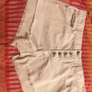 Free People Distressed White Denim Shorts